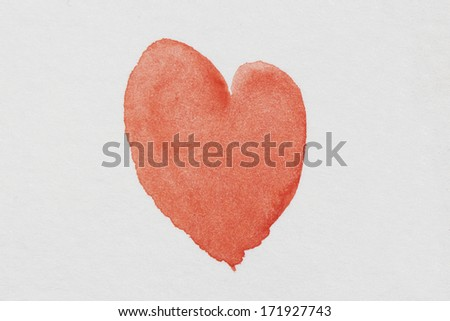 Watercolor heart - stock photo