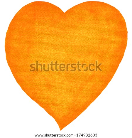Watercolor heart orange color with embossed texture paper on white background. Blank template created in aquarelle technique handmade. Empty silhouette isolated on a square format. - stock photo
