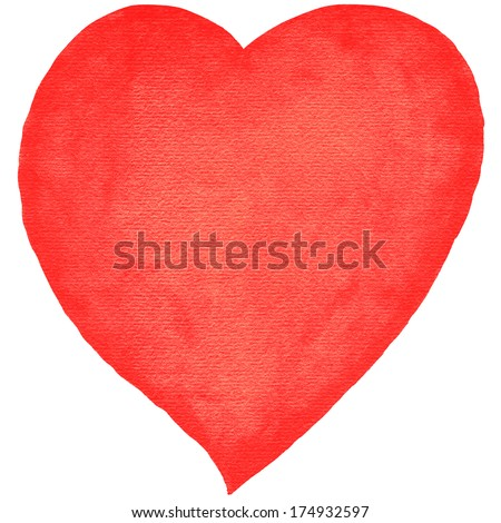 Watercolor heart red color with embossed texture paper on white background. Blank template created in aquarelle technique handmade. Empty silhouette isolated on a square format. - stock photo