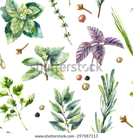 Watercolor herbs pattern. Seamless texture with hand drawn elements:basil,rosemary,parsley,mint,thyme,green onion and bay leaf. - stock photo