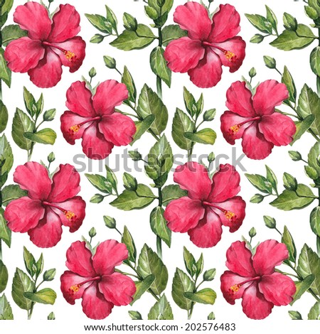 Watercolor hibiscus flower illustration. Seamless pattern - stock photo