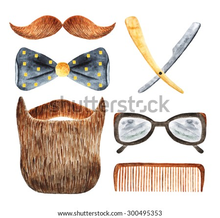 Watercolor hipster man objects collection including beard, mustache, glasses, hair brush, blade, bow tie. Barber icon, banner, label - stock photo