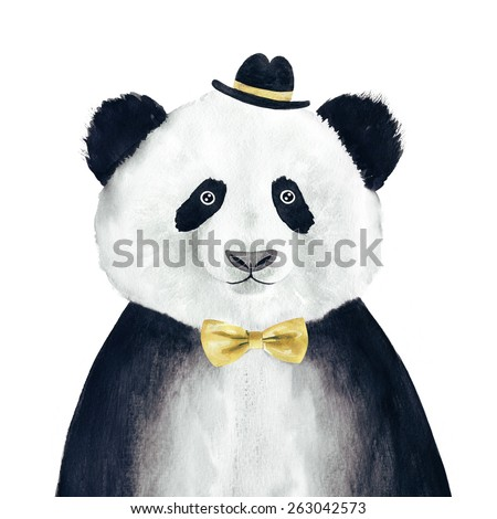 Watercolor hipster panda drawing. Hipster animal. - stock photo
