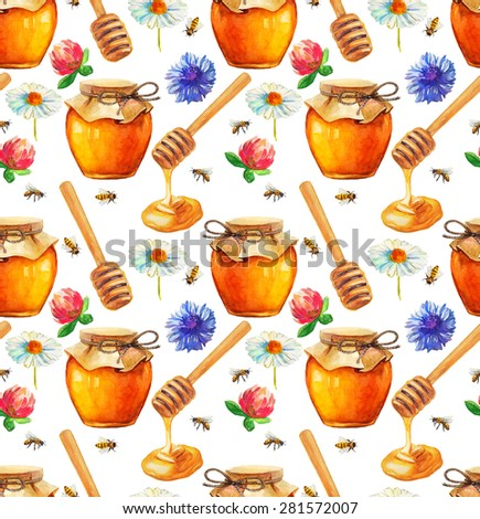 Watercolor Honey seamless pattern over white - stock photo