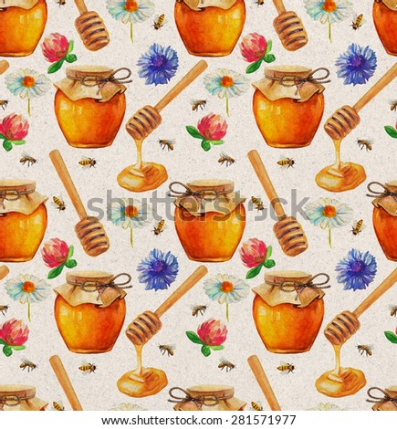 Watercolor Honey seamless pattern with jar and flowers - stock photo