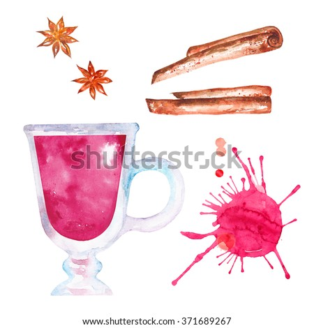 Watercolor hot wine punch with cinnamon and anise tree. Hand drawn illustration - stock photo