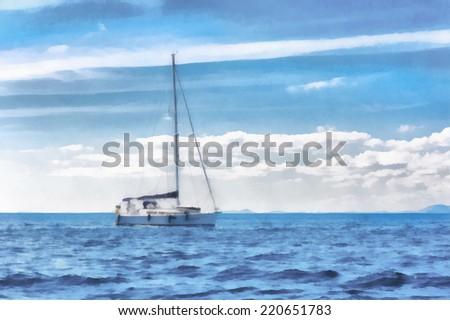 Watercolor illustration of a boat at sea. - stock photo