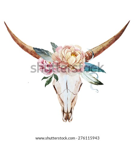 watercolor illustration of a bull's head with flowers and feathers - stock photo