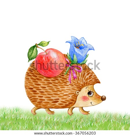Watercolor illustration of a hedgehog with an apple and a flower-2 . Sweet illustration for your design. Summer,  autumn. Grass. - stock photo