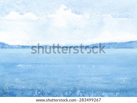 Watercolor illustration of a sea - stock photo