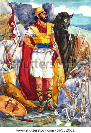 "Watercolor illustration of a series ""Life and everyday objects of ancient Palestine"". Warrior - stock photo"