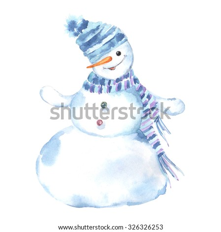 Watercolor illustration of a snowman on a white background.Christmas Greeting Card. - stock photo