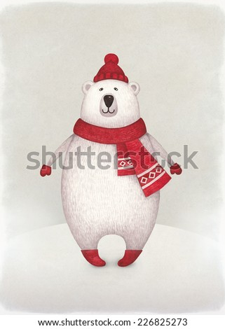Watercolor illustration of bear. Perfect for Christmas greeting card - stock photo
