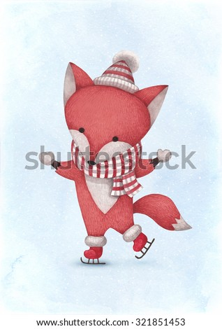 Watercolor illustration of fox. Perfect for Christmas greeting card - stock photo