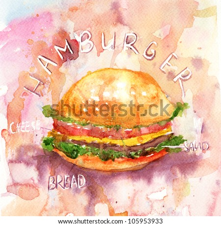 Watercolor illustration of Hamburger - stock photo