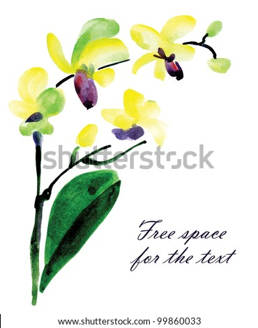 Watercolor illustration of orchid for card design. - stock photo