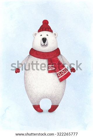 Watercolor illustration of polar bear. Perfect for Christmas greeting card - stock photo