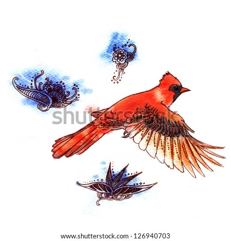 Watercolor illustration of Red Cardinal bird on white background - stock photo