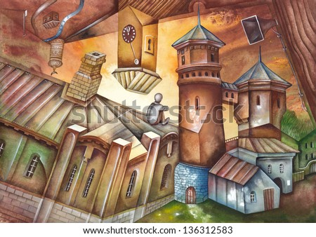 Watercolor illustration of the City Quarter - stock photo