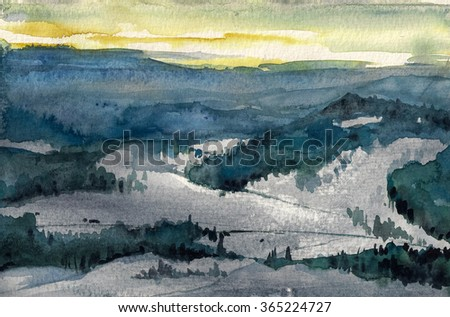 Watercolor illustration of winter mountains landscape. - stock photo