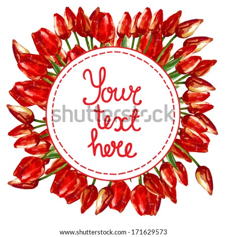 Watercolor illustration round wreath border frame of beautiful red tulip buds flowers for your text - stock photo