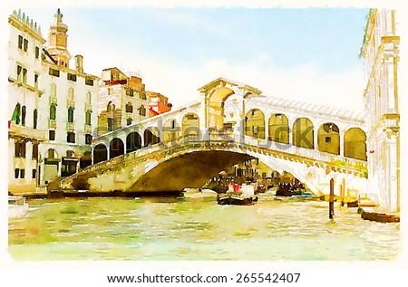 watercolor illustration venice italy - stock photo