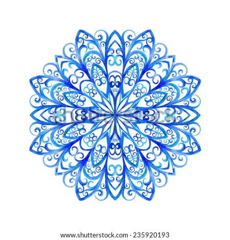 Watercolor illustration with a snowflake. Hand drawn raster artwork - stock photo
