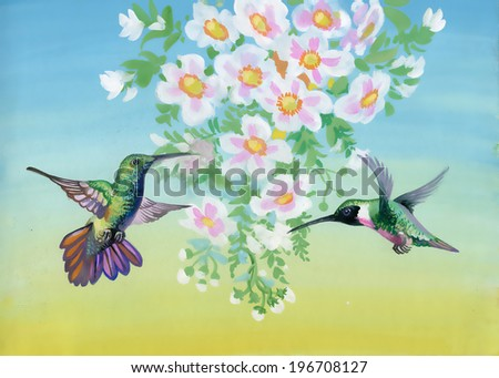 Watercolor illustration with flowers and birds - stock photo