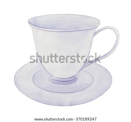Watercolor illustration with white Cup with bluecam on on white paper. Can be used as texture for cards, invitations, DIY projects, web sites or for any other design - stock photo