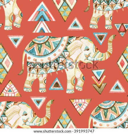Watercolor indian elephant with tribal ornament elements. Ornate elephant seamless pattern on tribal background in bohemian style. Hand drawn illustration for design in tribal or boho styles - stock photo