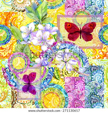 Watercolor indian ornamental pattern with butterflies and flowers. Decorative repeating design - stock photo