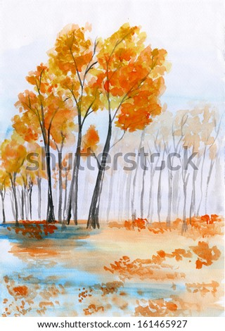 Watercolor landscape. A carpet of fallen leaves yellowed in the quiet autumn forest near the lake - stock photo