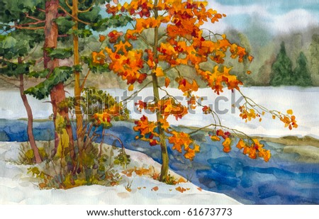 Watercolor landscape. Among the trees, snowy winter forest stream flows - stock photo