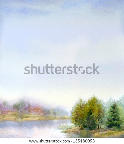 Watercolor landscape background. Gorgeous evening on the forest lake - stock photo