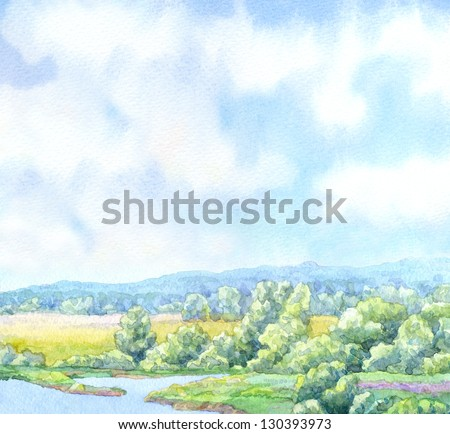 Watercolor landscape background. Sunny summer day on the river in a lush green valley - stock photo