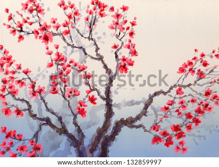 Watercolor landscape in Chinese style. The bright red flowers bloom in spring on old tree - stock photo