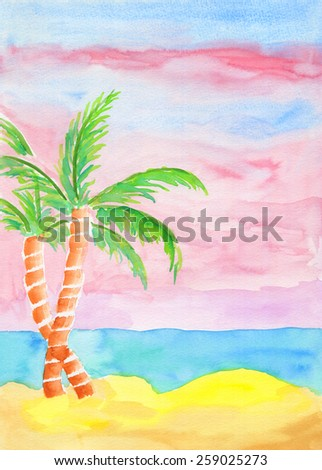 Watercolor landscape painting of golden sand beach, turquoise sea water and coconut trees with pink sky at sunrise. Summer resort feel. Hand drawn using transparent watercolor paint on paper. - stock photo