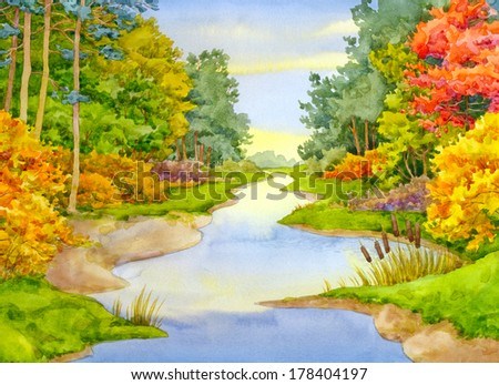 Watercolor landscape. Sinuous stream flows in a colorful autumn forest - stock photo