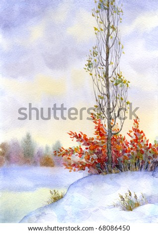 Watercolor landscape. Tall poplar among the snow-covered steppes of the icy river - stock photo