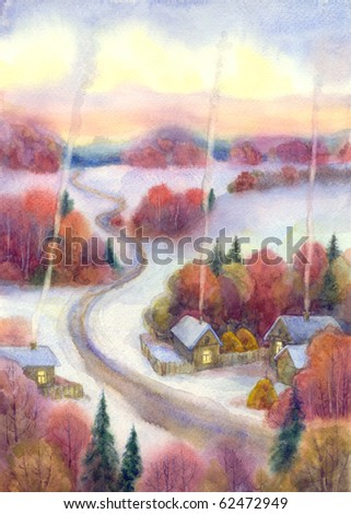 Watercolor landscape. Winter is frosty silence comfortable quiet evening wrapped village, is located among forests - stock photo