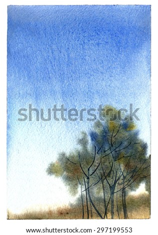 Watercolor landscape with autumn trees and blue sky. - stock photo