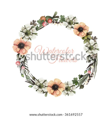 Watercolor leaves and flowers romantic wreath. Vintage round frame with berries, tree branch, white and orange anemones, leaves. Floral wreath in vintage style. - stock photo
