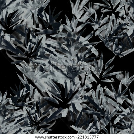 Watercolor leaves seamless pattern on black background. Black and white illustration - stock photo