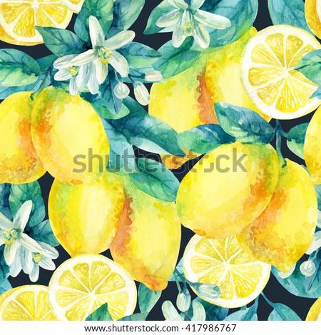 Watercolor lemon fruit branch with leaves seamless pattern on black background. Lemon citrus tree. Lemon branch and slices. Lemon branch with leaves. Hand painted illustration - stock photo