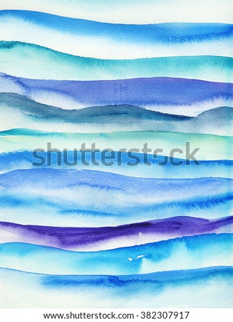 Watercolor light blue stripes. Mixed colors green and purple. Bright colors. - stock photo