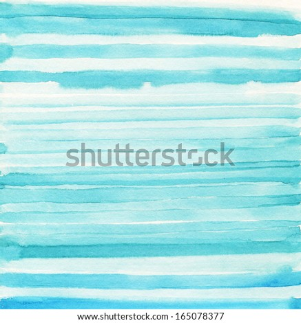 Watercolor light blue stripes. Mixed colors white. - stock photo