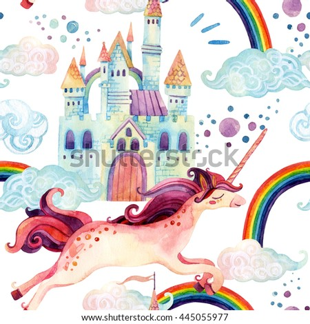 Watercolor little unicorn seamless pattern. Illustration with flying unicorn, rainbow, magic clouds and rain on white background. Hand painted fairy tale elements for kids, children design - stock photo