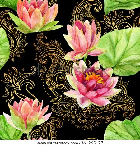 watercolor lotus flower on golden ornament. Watercolor flowers on indian paisley seamless pattern. Hand painted illustration on black background - stock photo