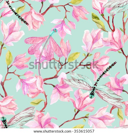 Watercolor magnolia branches  and dragonfly. Spring background. Hand painted illustration - stock photo