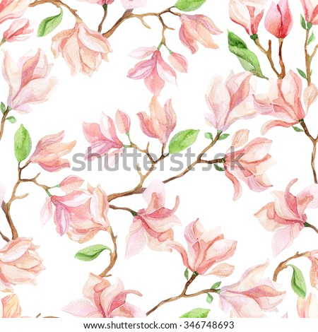 Watercolor magnolia branches. Spring background. Hand painted illustration - stock photo